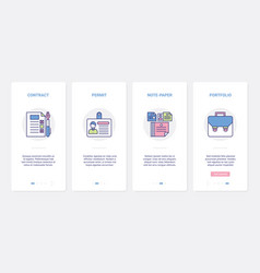 business contract line paper documents ux ui vector image