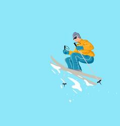 cartoon of a man playing ski vector image