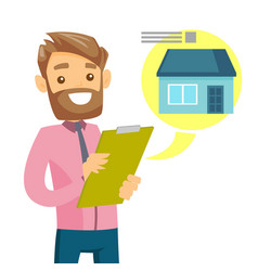 Caucasian man reading real estate advertising vector