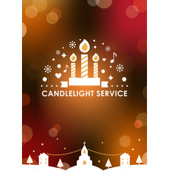 christmas eve candlelight service invitation card vector image