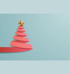 christmas tree paper art greeting card design vector image