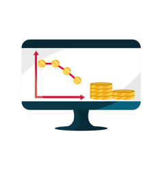 computer diagram decrease coins money stock market vector image
