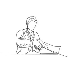continuous line drawing young doctor handshake vector image