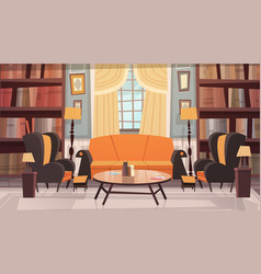 Cozy living room interior design with furniture vector