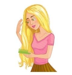 Cute blond cartoon girl combs hair eps10 vector image