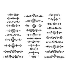 Decorative dividers text lines vintage hand drawn vector