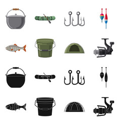 Design of fish and fishing icon set of vector