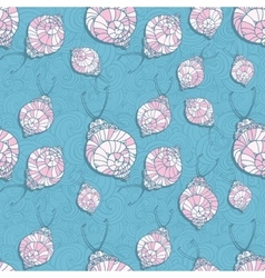 Doodle style fun lacy snail seamless animal and vector image