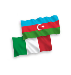Flags italy and azerbaijan on a white vector