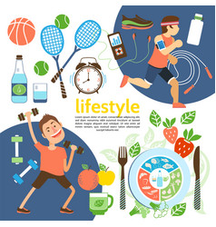 Flat healthy lifestyle poster vector