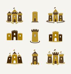 Fortresses emblems emblems big set castles vector