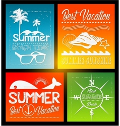 four summer text typography vintage poster vector image