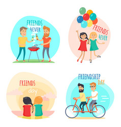 Friends forever friendship day set vector
