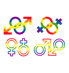 gender and lgbt sexual orientation icon set vector image