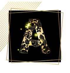 golden ornamental alphabet letter a font vector image