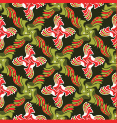 green and red christmas floral lattice design vector image