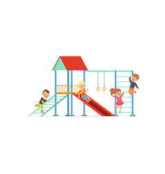 Group of preschool kids boys and girl playing at vector