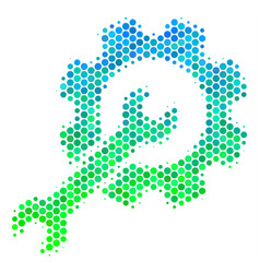 Halftone blue-green setup tools icon vector