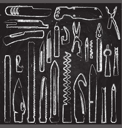hand draw set of multifunction knife elements vector image