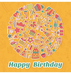 Happy Birthday card Birthday party background vector image
