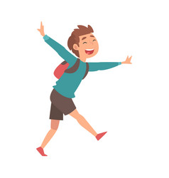 Happy smiling boy running with backpack at airport vector