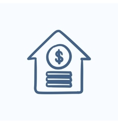 House with dollar symbol sketch icon vector image