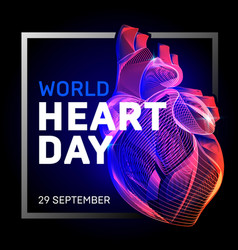 Human body heart with abstract 3d geometry lines vector