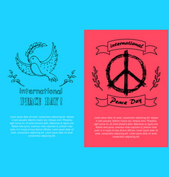 International peace day symbols on bright posters vector