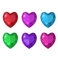 Jewelry heart set Gemstones hearts shaped vector
