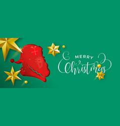 layered christmas banner of paper cut santa claus vector image