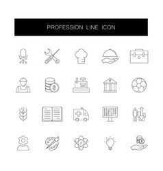 line icons set profession pack vector image
