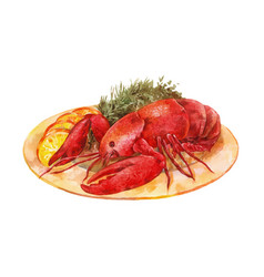 Lobster on a plate with herbs and lemon watercolor vector