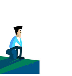 lonely man sitting on the pier white background vector image