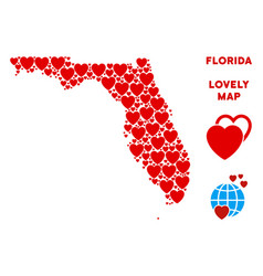 lovely florida map collage of hearts vector image