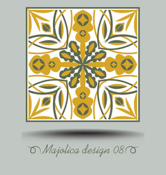 Majolica traditional ceramic tile in nostalgic vector