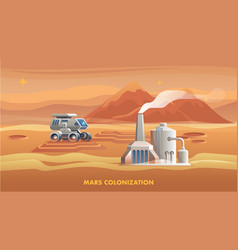 mars colonization first astronaut vector image