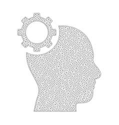 mesh intellect gear icon vector image