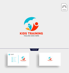 Momy and child children care logo template vector