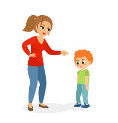Mother character scolding vector