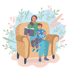 mother reading a book with her son vector image