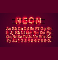 neon city color red font english alphabet vector image