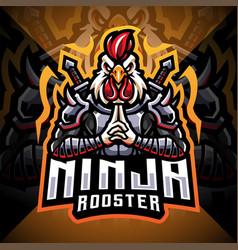 Ninja rooster esport mascot logo design vector