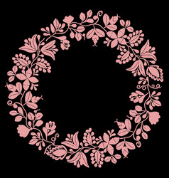 Pink laurel wreath decorative frame on black vector