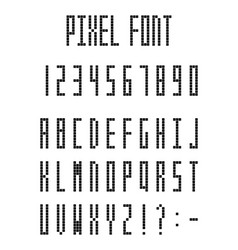 pixel font pixeled alphabet letters and numbers vector image