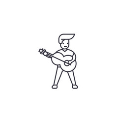 Playing a guitar line icon sign vector