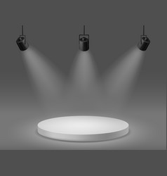 Podium with spotlights empty illuminated pedestal vector