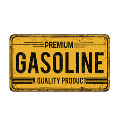 Premium gasoline vintage rusty metal sign vector