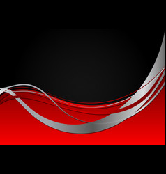 red and black abstract wave wallpaper with copy vector image