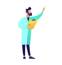 scientist with clipboard showing with finger vector image
