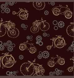 seamless pattern steampunk with old bicycle and vector image